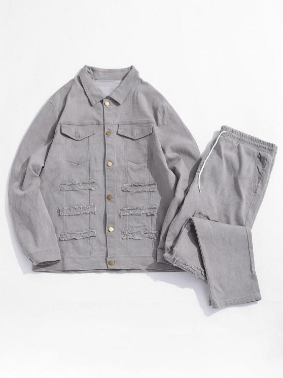 Frayed Patchwork Flap Pocket Jean Jacket and Denim Pants - اللون الرمادي XS