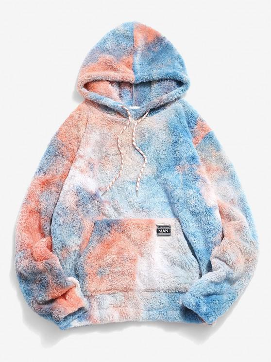 women Kangaroo Pocket Tie Dye Faux Fur Fluffy Hoodie - BROWN SUGAR 2XL