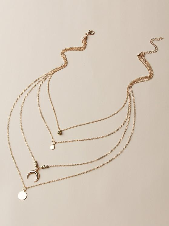 sale Moon Round Shape Charm Multilayered Necklace - GOLDEN