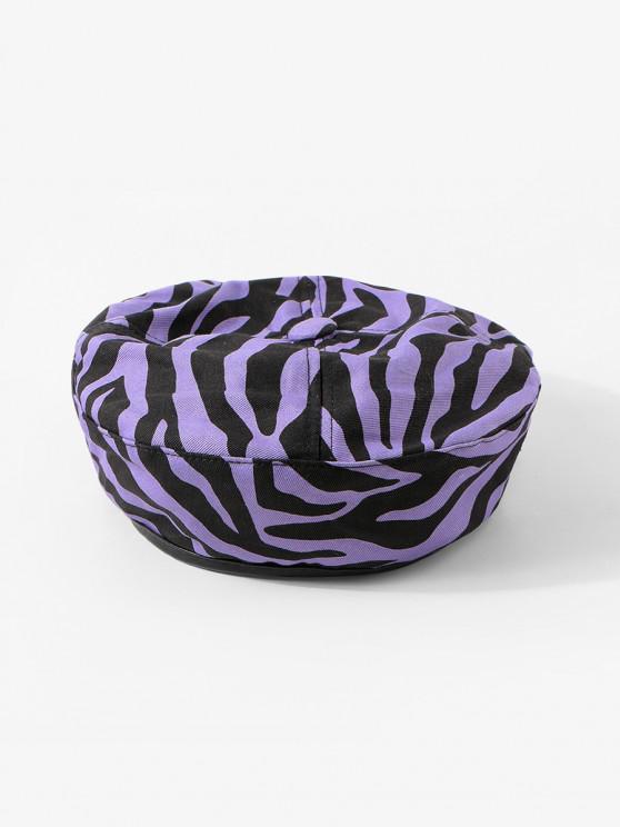 women Zebra Printed Flat Beret Hat - VIOLA PURPLE