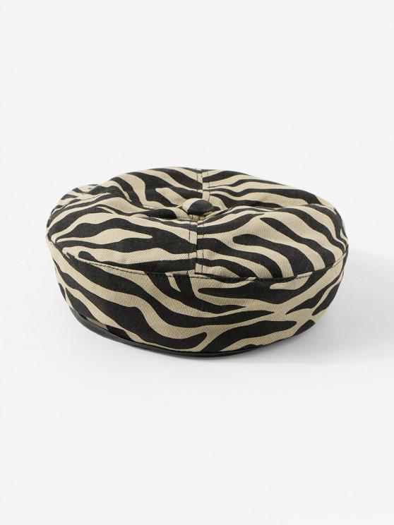 ladies Zebra Printed Flat Beret Hat - KHAKI