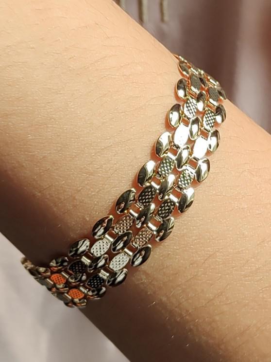 shops Wide Chain Hollow Bracelet - GOLDEN