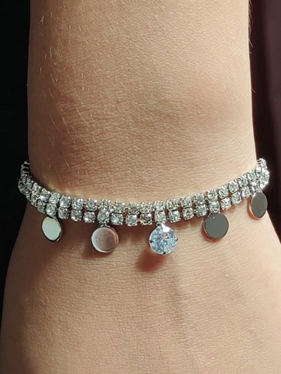 fashion Double Row Rhinestone Bracelet - SILVER