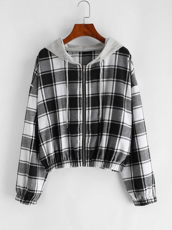 Plaid Hooded Zip Drop Shoulder Jacket - أسود L