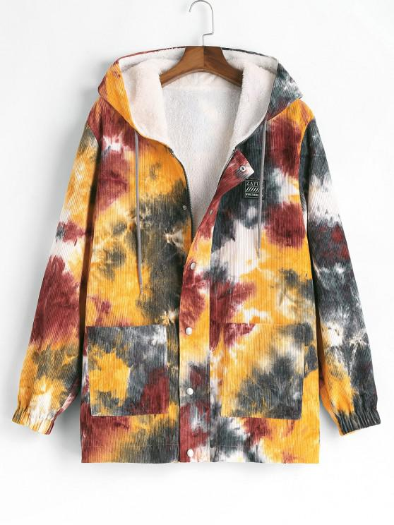 fashion Hooded Tie Dye Corduroy Fleece Jacket - YELLOW 2XL