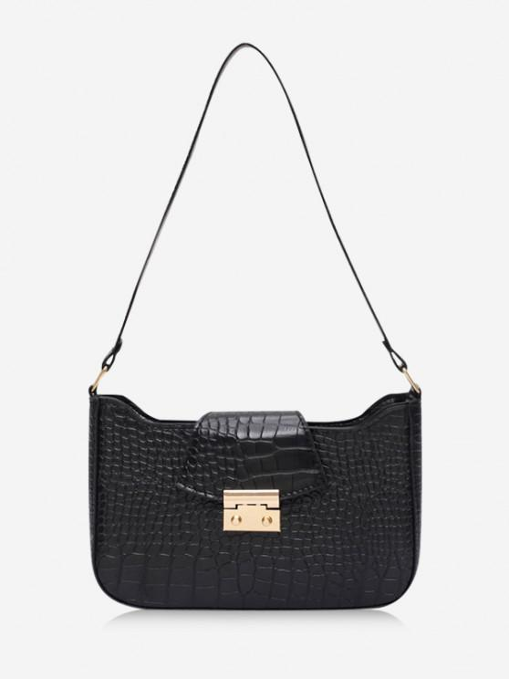 women Textured Rectangle Shoulder Bag - BLACK