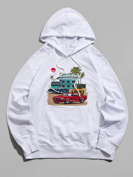 outfit Graphic Print Kangaroo Pocket Pullover Hoodie - WHITE S