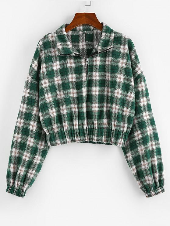 ZAFUL Plaid Half Zipper Cropped Sweatshirt - ديب غرين XL