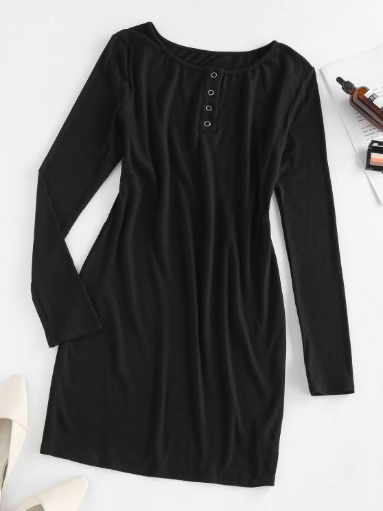 fashion ZAFUL Ribbed Snap Button Bodycon Dress - BLACK M