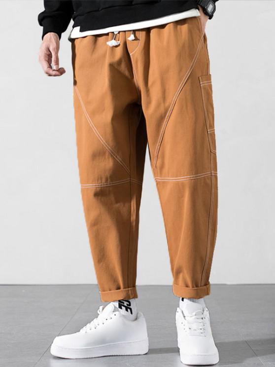 Contrast Stitching Side Pocket Pants - البني الفاتح S