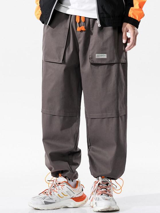 Pantalon Lettre ImpriméeJointifavec Multi-Poches - Gris Foncé S