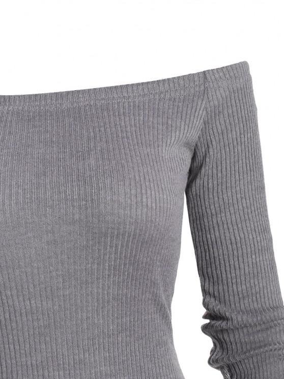 Off The Shoulder Bodycon Maxi Ribbed Knit Dress - Gray L | ZAFUL
