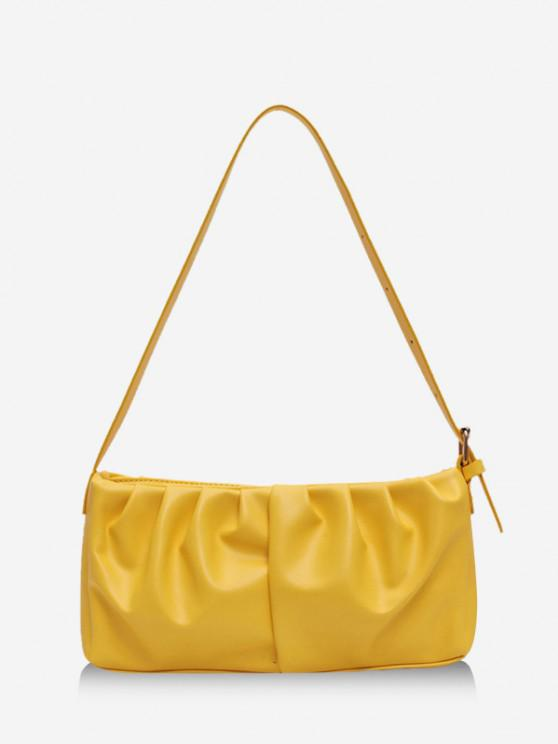 new Solid Rectangle Pleated Shoulder Bag - YELLOW