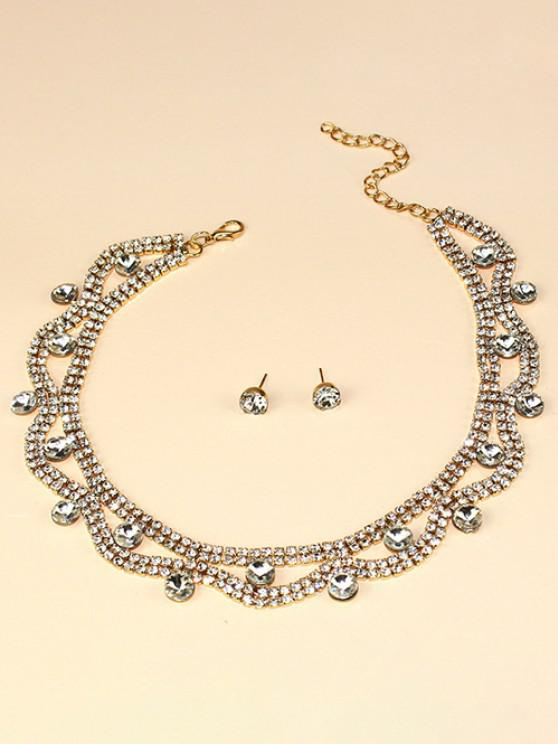online Hollow Out Rhinestone Jewelry Suit - GOLDEN