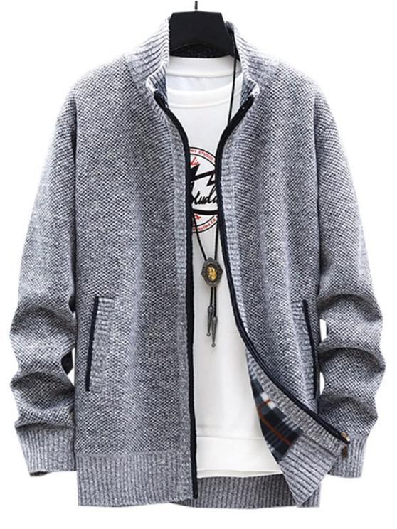 best Front Pocket Zip Up Fleece Cardigan - LIGHT GRAY XS