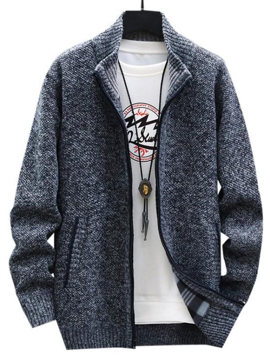 affordable Front Pocket Zip Up Fleece Cardigan - DARK GRAY XS