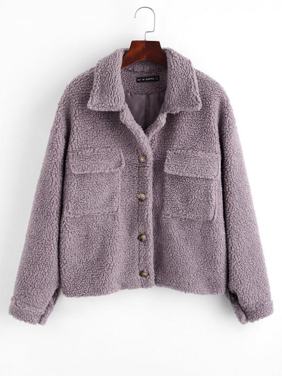 best ZAFUL Button Up Flap Pockets Teddy Coat - PURPLE L