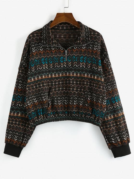 ZAFUL Tribal Drop Shoulder Quarter Zip Sweatshirt - متعددة-A S