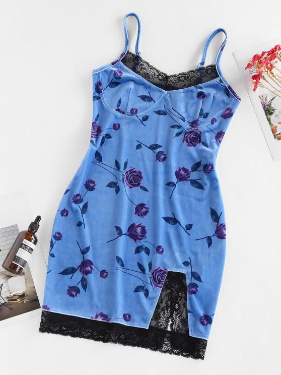 ladies ZAFUL Flower Velvet Lace Insert Slit Mini Dress - SKY BLUE M