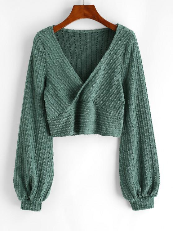 ladies Cable Knit Surplice Cropped Knitwear - GREEN M