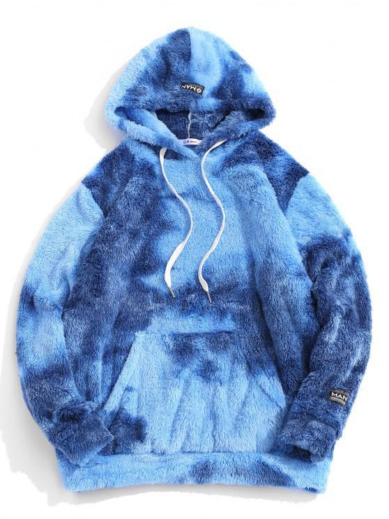 women Tie Dye Fluffy Front Pocket Hoodie - BLUE 2XL