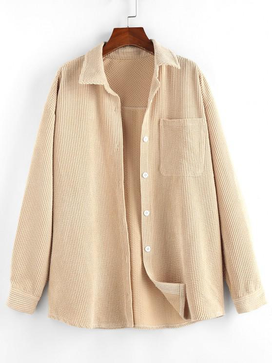 outfits ZAFUL Corduroy Drop Shoulder Pocket Shirt Jacket - TAN S