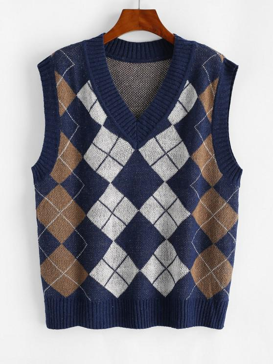 shop V Neck Argyle Pattern Sweater Vest - BLUE S