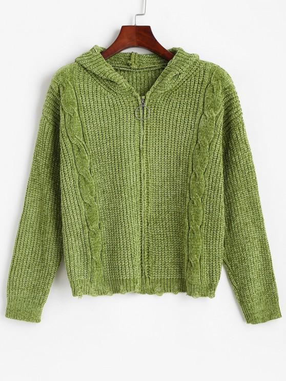 ZAFUL Zip Up Ripped Cable Knit Chenille Cardigan - ديب غرين S