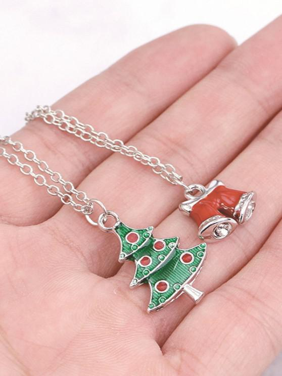 outfit 2Pcs Christmas Tree Bells Necklace Set - SILVER
