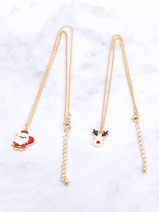 outfits 2Pcs Christmas Santa Elk Necklace Set - GOLDEN