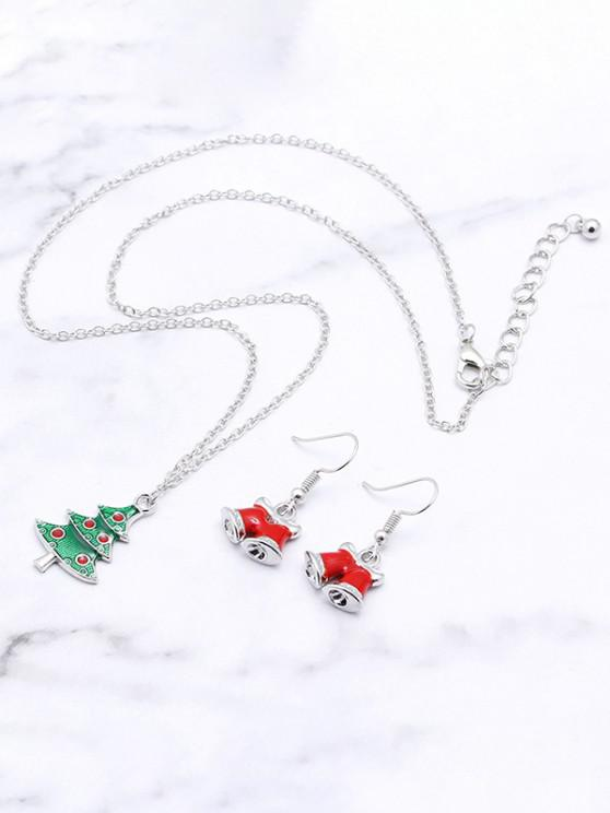 womens Christmas Tree Bell Pendant Jewelry Suit - SILVER