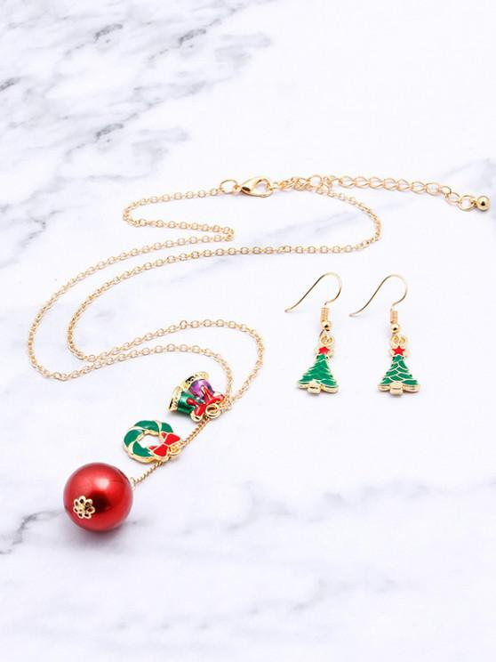 ladies Christmas Tree Bell Necklace Earrings Set - GOLDEN