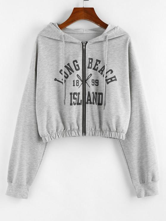 womens ZAFUL Letter Drop Shoulder Zipper Crop Hoodie - LIGHT GRAY S