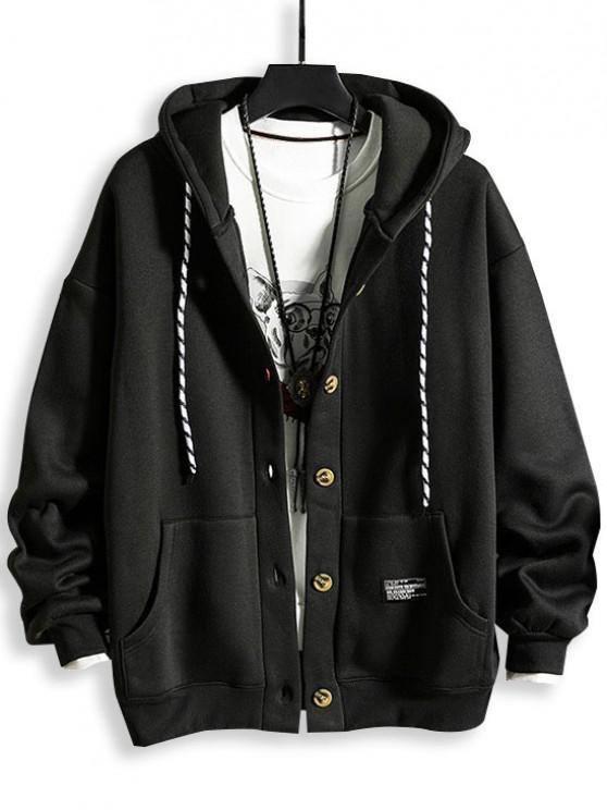 fashion Hooded Button Up Applique Fleece Jacket - BLACK 3XL