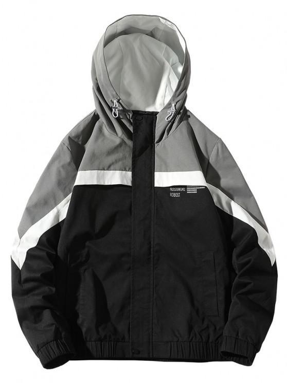 women Colorblock Panel Letter Pattern Hooded Jacket - BLACK S