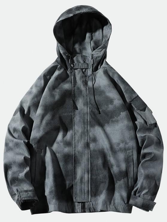 online Tie Dye Print Raglan Sleeve Hooded Jacket - GRAY 2XL