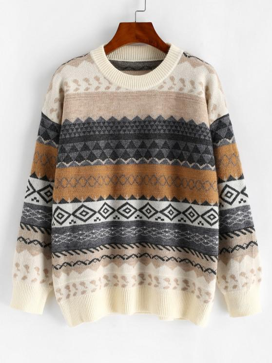 lady Crew Neck Geometric Graphic Fair Isle Knit Sweater - MULTI-A ONE SIZE