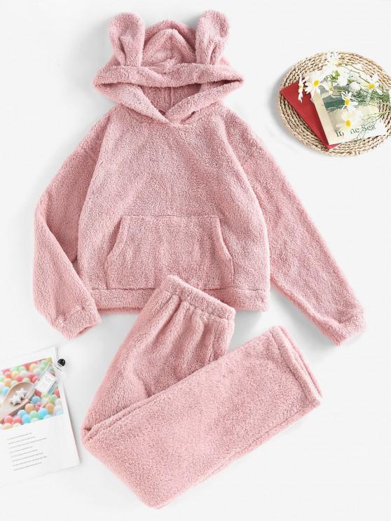 shop ZAFUL Plush Ear Hooded Drop Shoulder Pajama Pants Set - PINK S