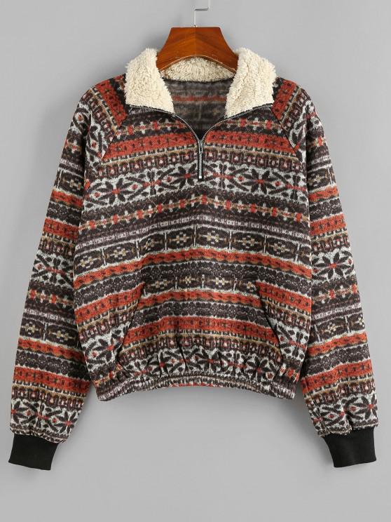 ZAFUL Tribal Faux Shearling Collar Quarter Zip Sweatshirt - أسمر S