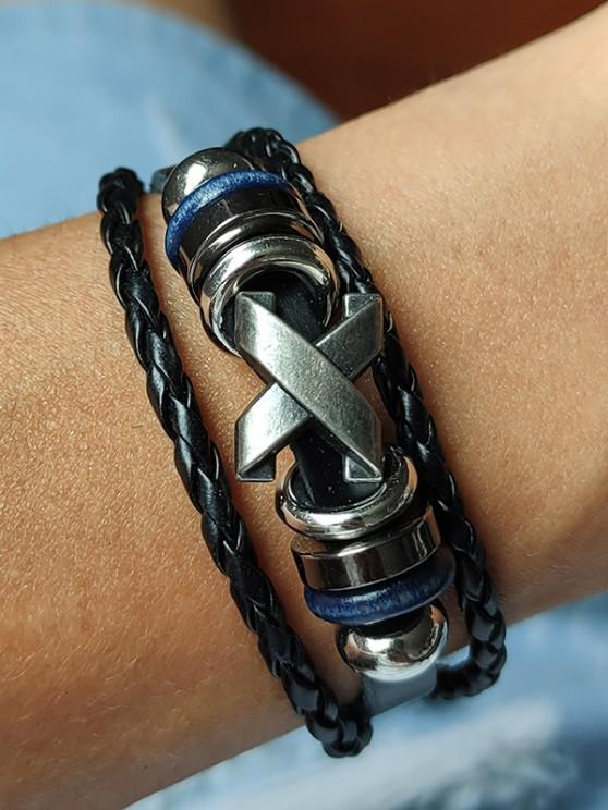 Criss Cross Braid Layers Bracelet - أسود