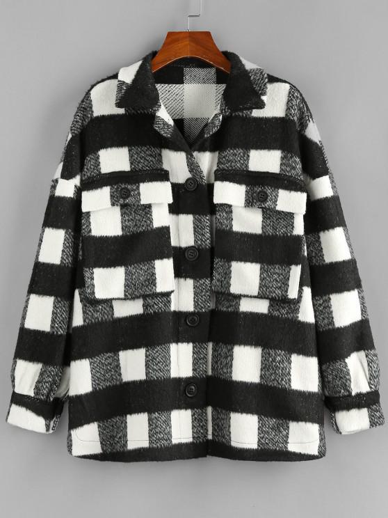 hot ZAFUL Checkered Drop Shoulder Pocket Coat - BLACK L