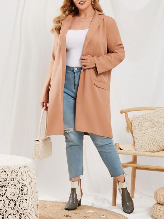 ladies Plus Size Flap Detail Open Front Coat - LIGHT COFFEE 4XL