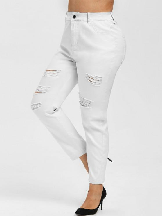 Plus Size High Rise Ripped Fitted Jeans - أبيض 2X