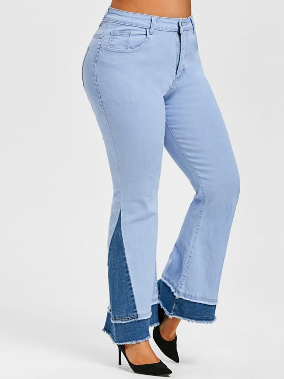 Plus Size Two Tone Frayed Bell Bottom Jeans - Hellblau L