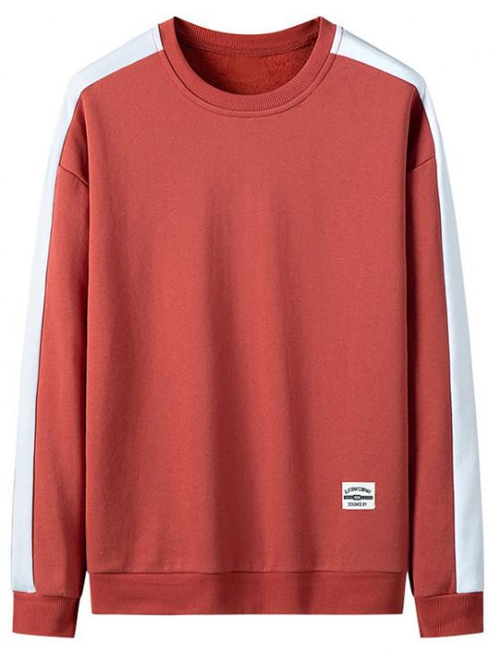 online Drop Shoulder Applique Contrast Sweatshirt - RED XS