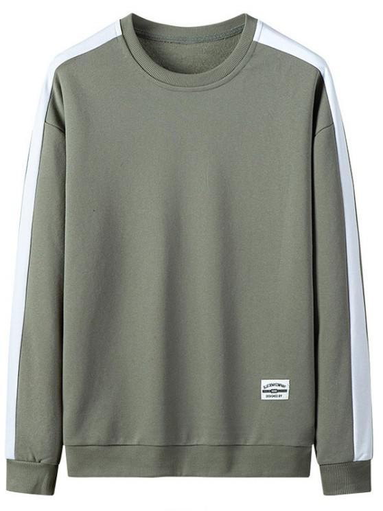 Drop Shoulder Applique Contrast Sweatshirt - اخضر فاتح M