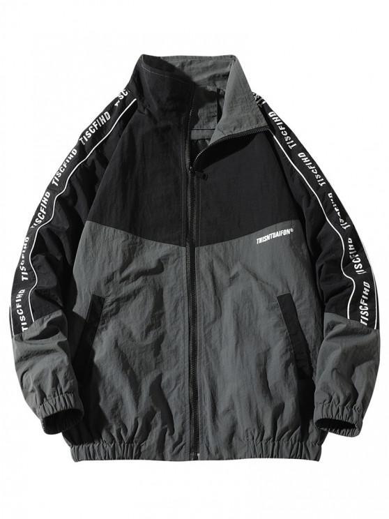 Letter Print Colorblock Raglan Sleeve Jacket - أسود 2XL