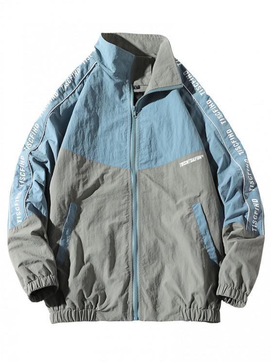buy Letter Print Colorblock Raglan Sleeve Jacket - BLUE L