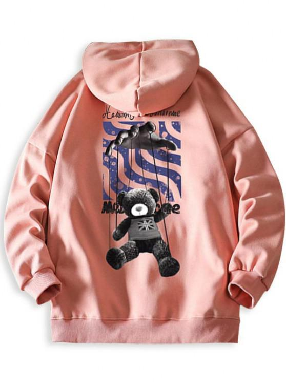 chic Toy Bear Letter Graphic Drop Shoulder Hoodie - PINK XL