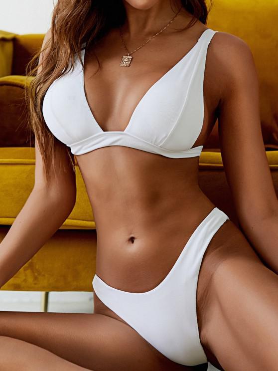 fancy ZAFUL Plunge Ribbed High Cut Bikini Swimwear - WHITE L